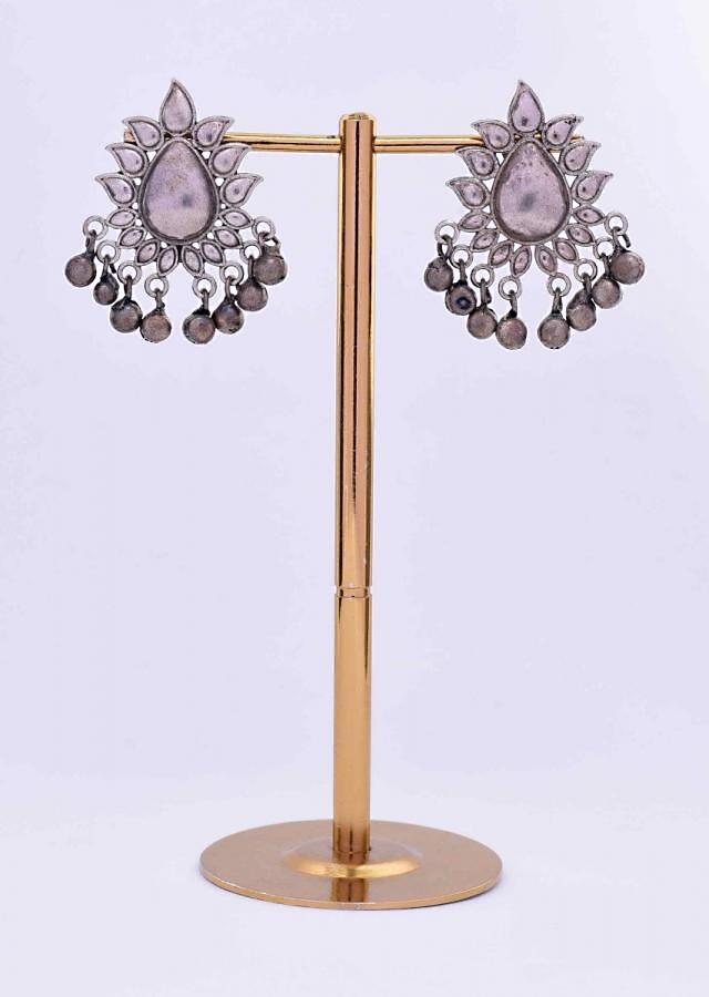 Oxidized floral cluster earring with ghungru drops only on Kalki
