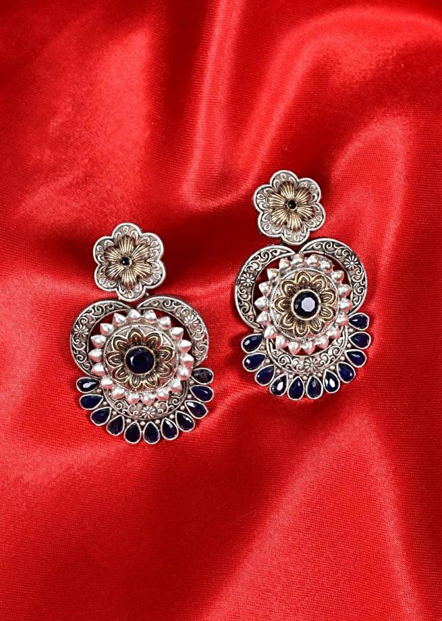 Oxidized floral dangler earring with indigo blue beads only on Kalki