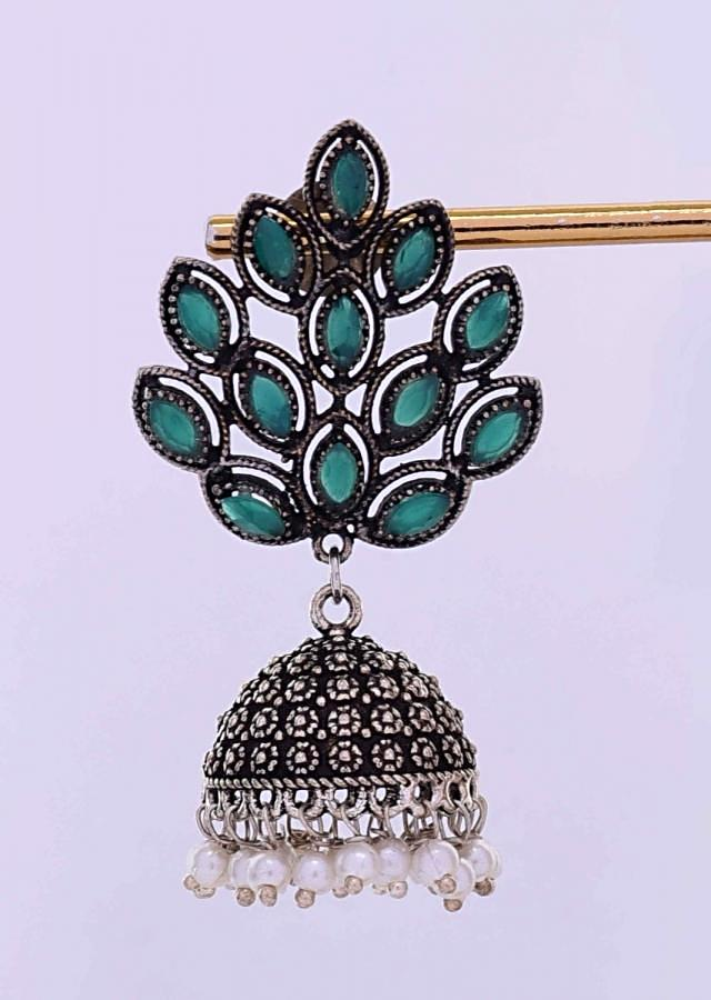 Oxidized jhumkas with emerald green beads only on Kalki