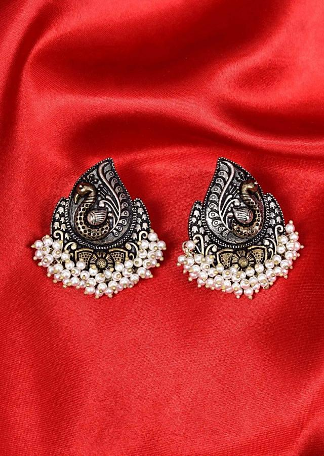 Oxidized peacock motif earring  with bunch moti drops only on Kalki