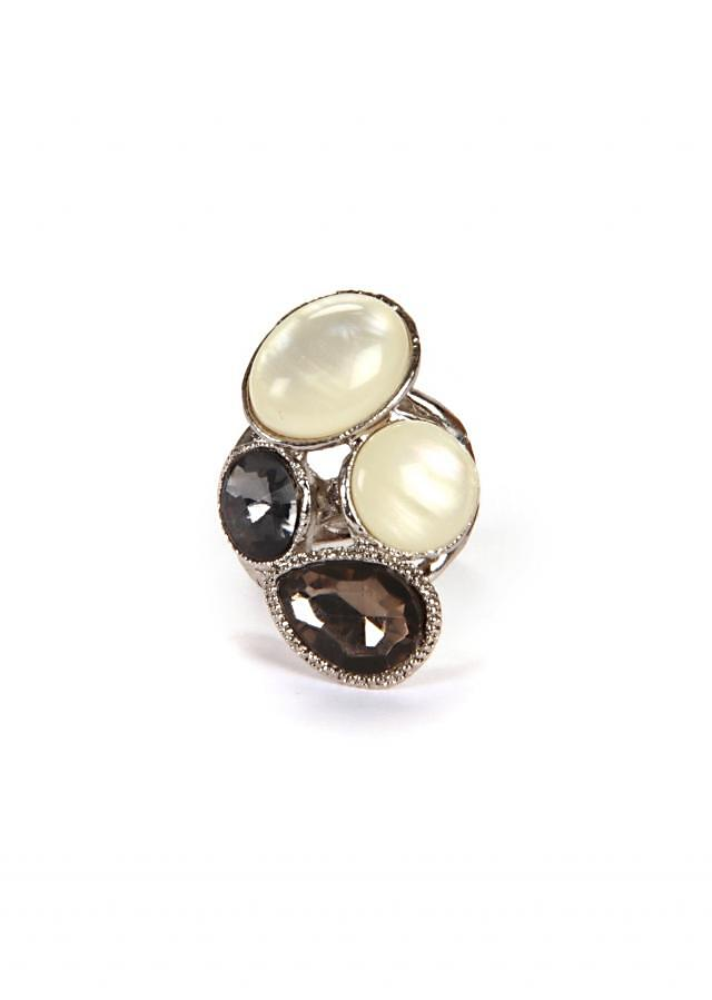Oxidized Ring With Different Stones Settings. only on Kalki