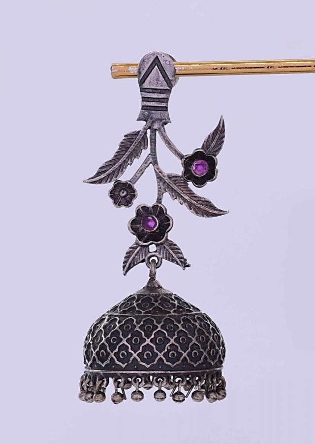 Oxidized silver dangler with self carved jhumkas only on Kalki