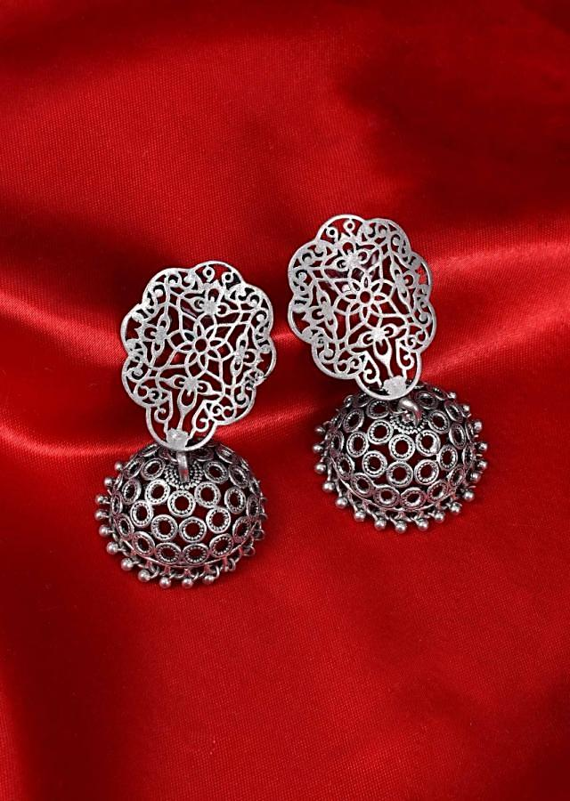 Oxidized silver jhumkas with cut work only on Kalki