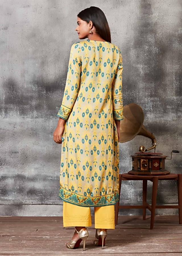 Oyster Beige And Yellow Straight Cut Suit In Cotton With Printed Ethnic Motifs Online - Kalki Fashion