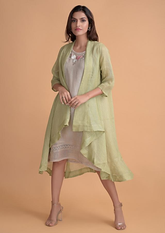 Oyster Beige Tunic And Green Jacket In Jute Cotton With Floral Embroidered Neck Online - Kalki Fashion
