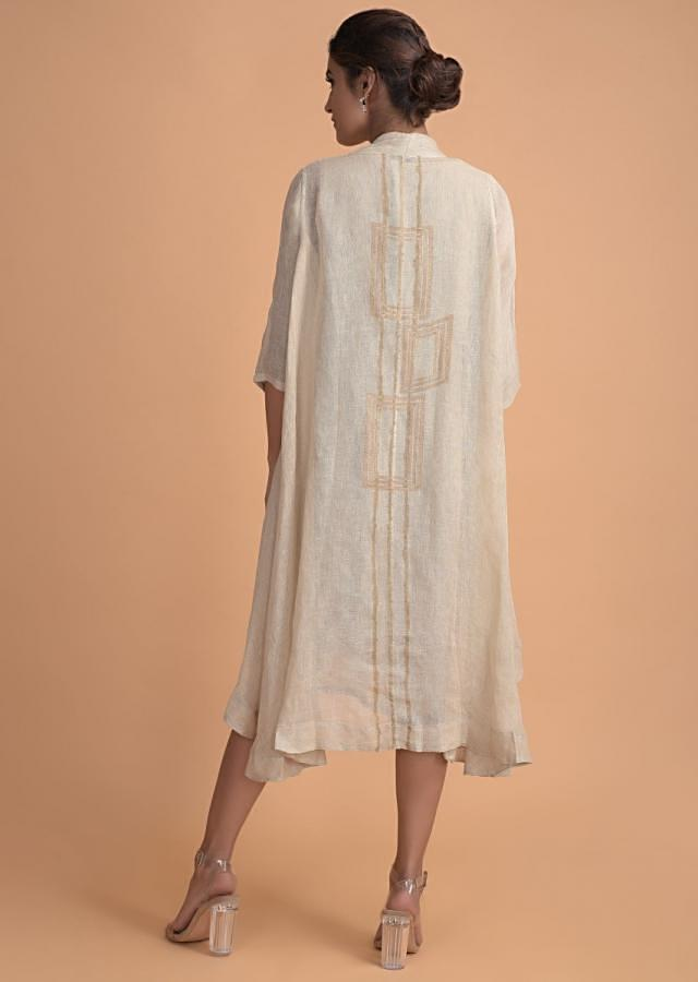 Oyster Beige Tunic And Jacket In Jute Cotton With Floral Embroidery On The Neckline Online - Kalki Fashion