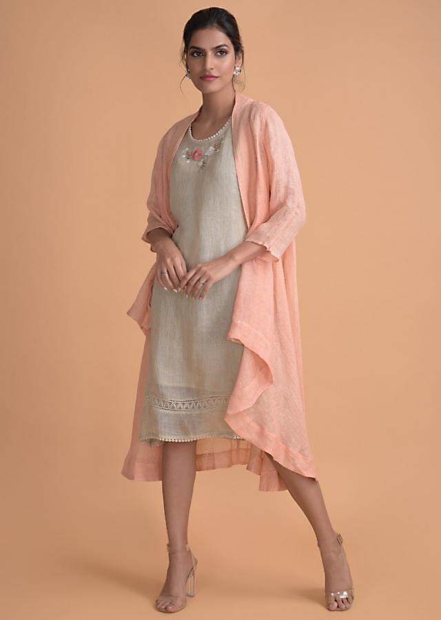 Oyster Beige Tunic And Peach Jacket In Jute Cotton With Floral Embroidered Neck Online - Kalki Fashion