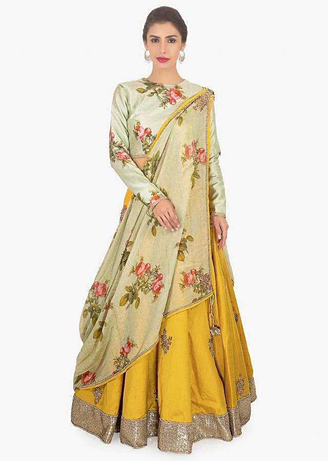 Oyster Green Blouse In Raw Silk Paired With Mustard Lehenga And Floral Printed Dupatta Online - Kalki Fashion