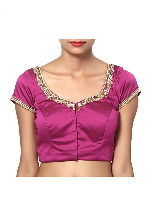 Paan necked beautiful hand work stone studded neckline in lustrous magenta