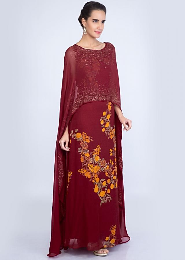 Pale maroon floral printed tunic dress with an attached cape only on kalki