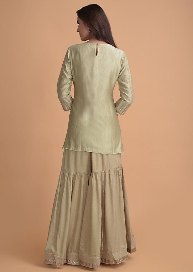 Pale Moss Green Sharara Suit In Cotton With Gotta Patches And Zari Work Online - Kalki Fashion