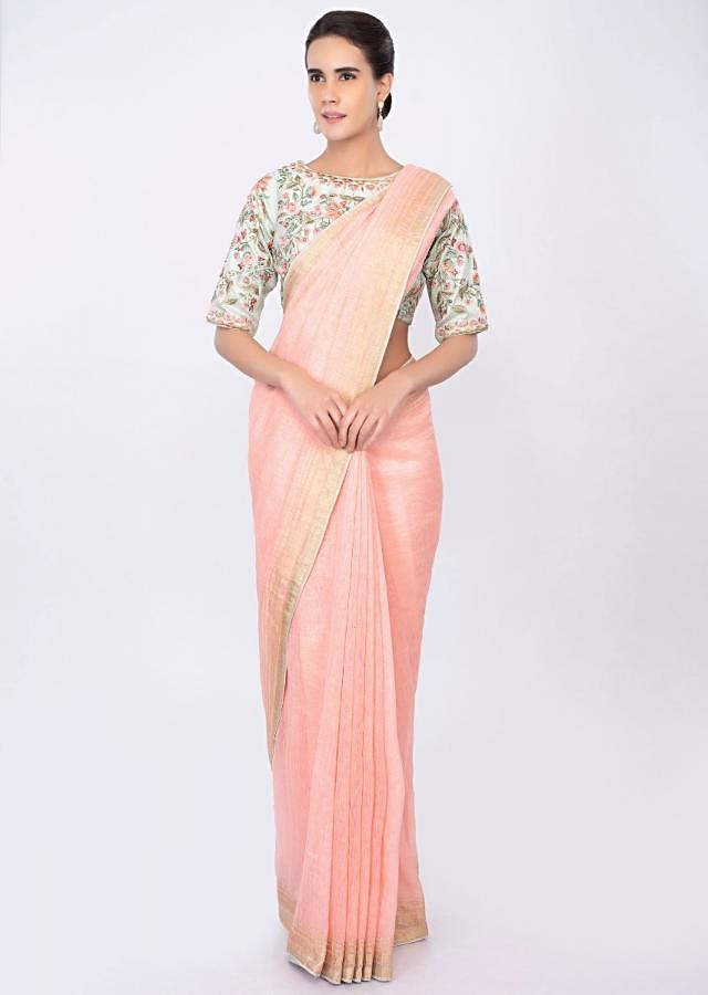 Pale Pink Saree In Linen With Mint Green Floral Embroidered Blouse Online - Kalki Fashion