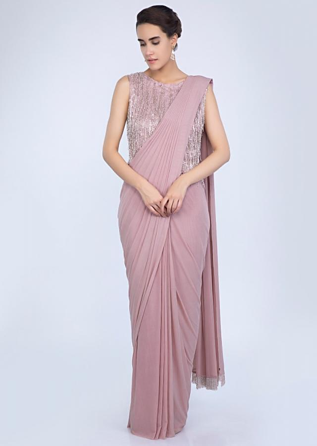 Pale Pink Ready Pleated Saree In Lycra Net With Heavy Embellished Tasseled Blouse Online - Kalki Fashion
