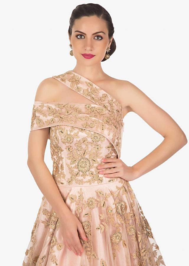 Pale Pink Net and Heavy Satin Gown Featuring Embroidery, Sequins and Beads Only on Kalki