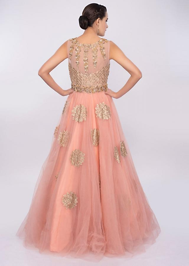 Pale Pink Gown In Net With Butti And Embellished Bodice Online - Kalki Fashion