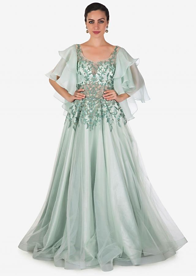 Pale Powder Blue Organza, Net and Satin Gown with Ornate Handwork Only on Kalki