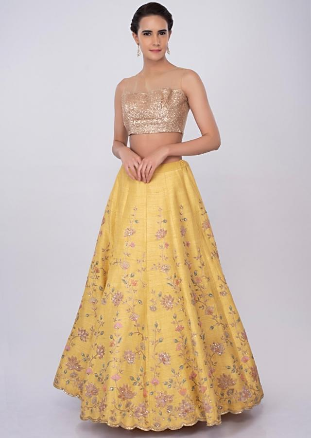 Pale Yellow Lehenga Set In Raw Silk With Floral Jaal Work Online - Kalki Fashion