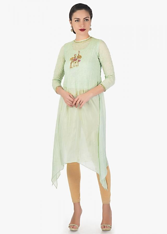 Pale green kurti with bird motif embroidery only on Kalki