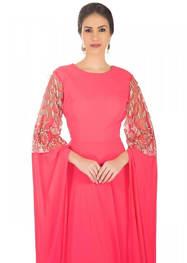 Paradise Pink Georgette Net Gown Featuring Fancy Sleeves with Zardosi and Tassels only on Kalki