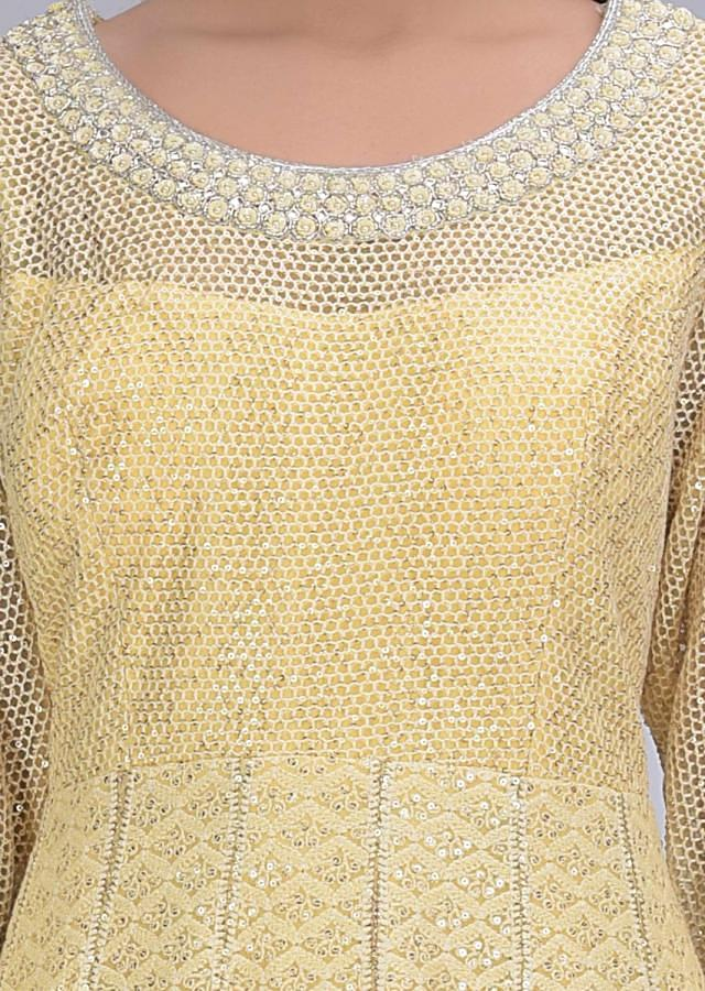 Parmesan Yellow Anarkali Suit In Net And Chiffon With Embroidery Work Online - Kalki Fashion