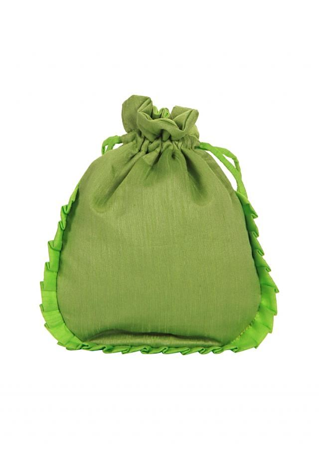 Parrot green and Gold Dori peacock Embroidered Potli Bag only on Kalki