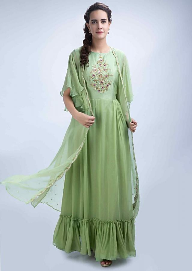 Parrot green center embroidered tunic dress with a long jacket with frill sleeves only on Kalki
