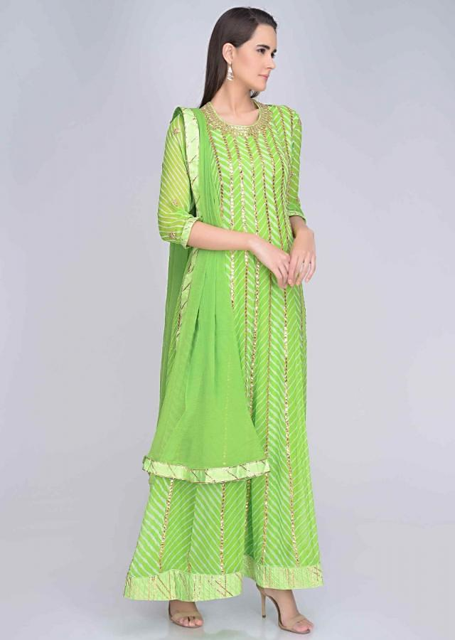 Parrot Green Anarkali In Georgette And Matching Dupatta With Gotta Work Online - Kalki Fashion