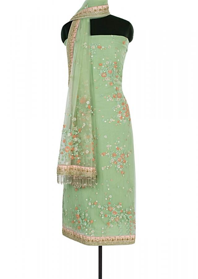 Parrot Green Unstitched Suit In Hard Net With Cord Embroidered Butti Online - Kalki Fashion