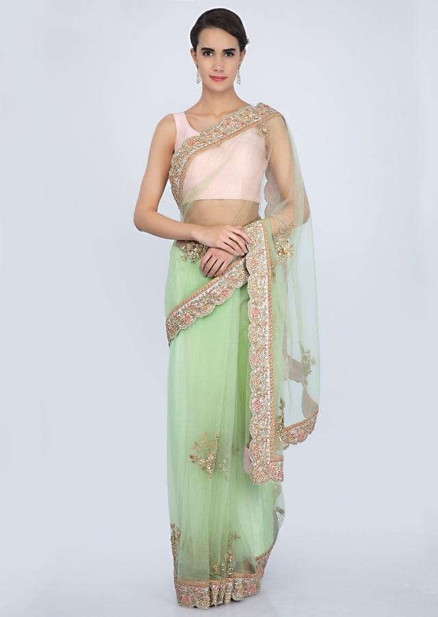 Parrot Green Saree In Net With Contrasting Pink Scallop Embroidered Border Online - Kalki Fashion
