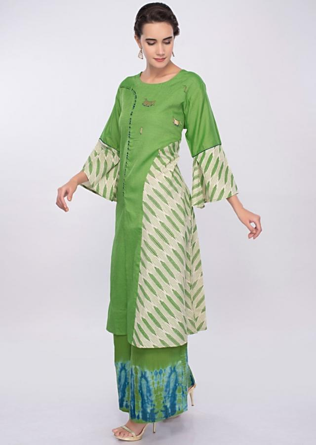Parrot green palazzo suit set only on Kalki