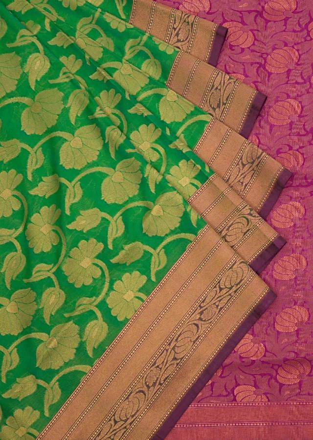 Parrot green saree in silk with contrast border only on Kalki