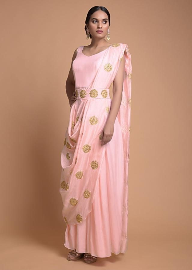Pastel Pink Indowestern Gown With Cowl Drape And Sequins And Zari Buttis Online - Kalki Fashion