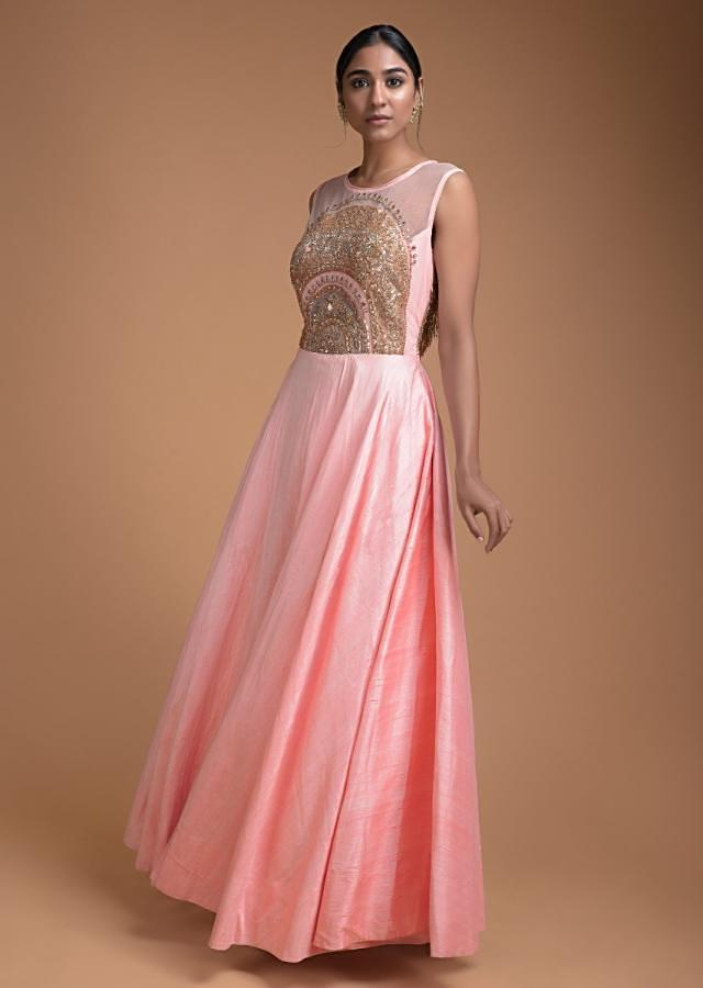 Pastel Pink Indowestern Gown With Cut Dana Fringes On The Back Online - Kalki Fashion