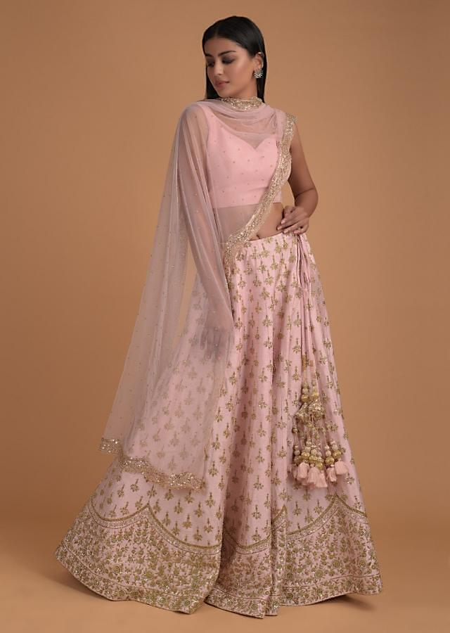 Pastel Pink Lehenga Choli With Cut Dana And Beads Embroidered Buttis And Jaal Pattern Online - Kalki Fashion