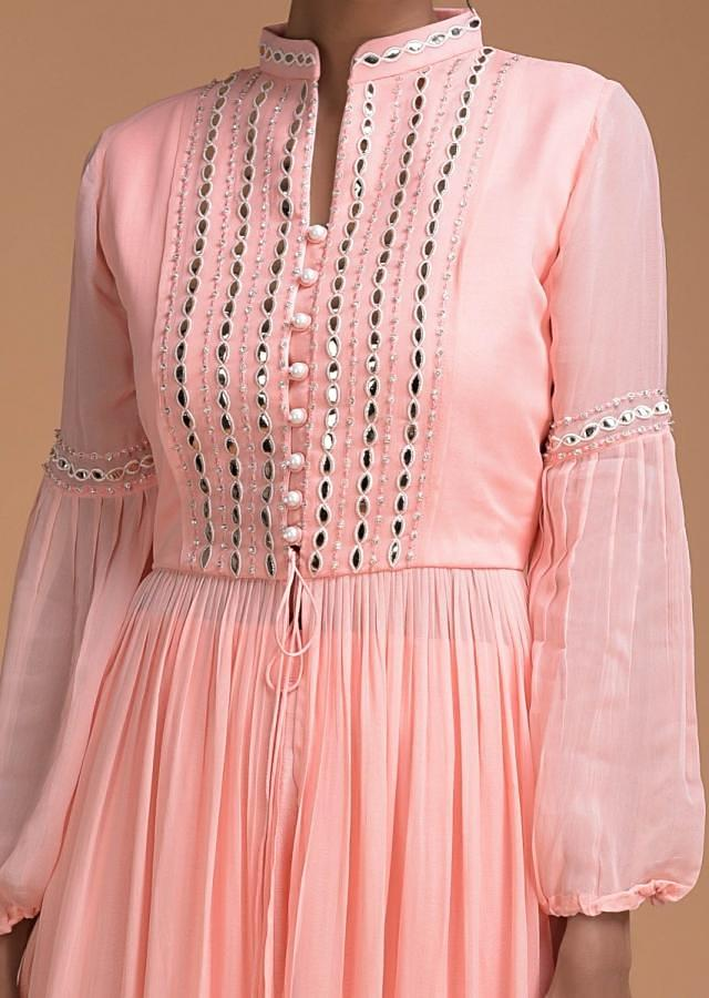 Pastel Pink Palazzo Suit And Flared Long Kurti With Foil Applique Online - Kalki Fashion