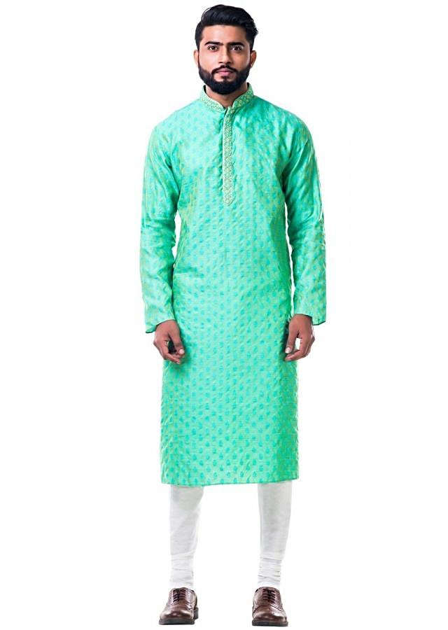 Pastel green thread embroidery kurta set only on Kalki