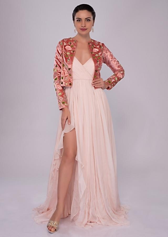 Pastel pink flat chiffon gown with 3d hand embroidered velvet jacket only on Kalki