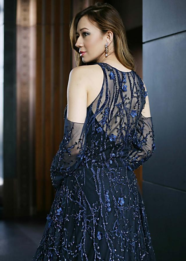 Patriot blue Taffeta Gown Crafted with Boning Details only on Kalki