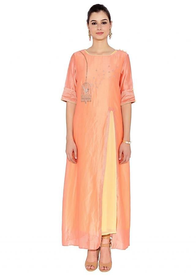 Peach & Cream Cotton, Georgette Kurti With Bird In The Cage Zardosi Embroidery And Front Slit And Inner Lining Only On Kalki