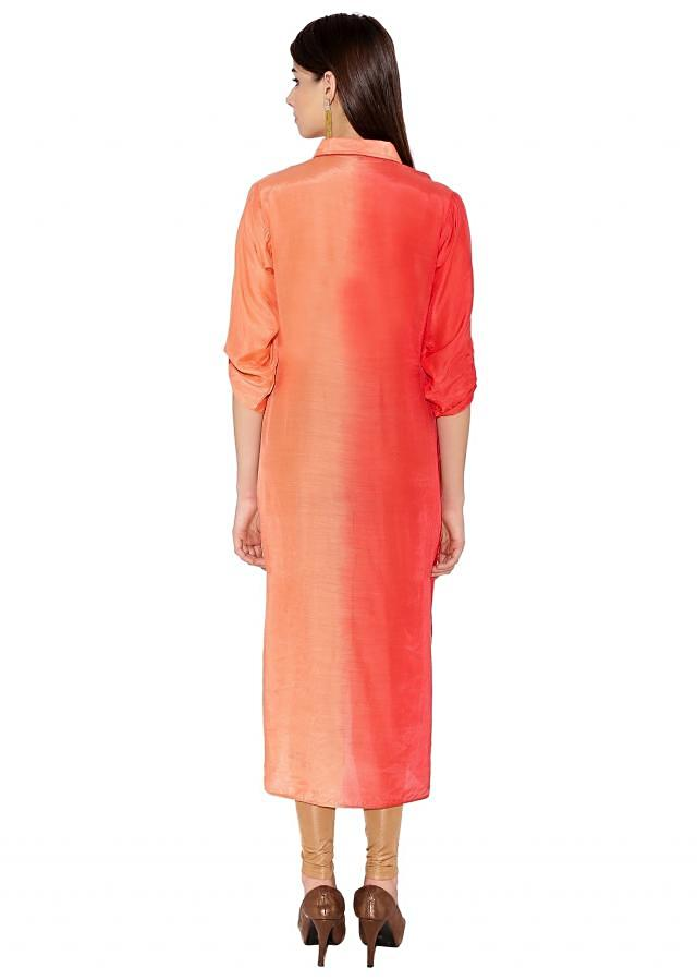 Peach & Pink Cotton Kurti With Shirt Style Kurti With Button Placket Only On Kalki