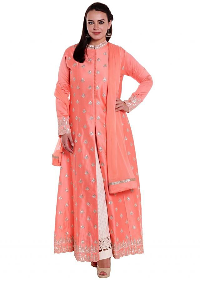 Peach A line suit in front slit with zari butti all over only on Kalki