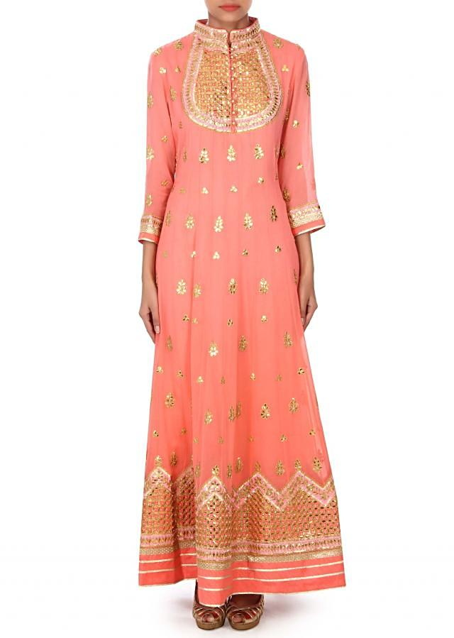 Peach anarkali suit adorn in gotta patch embroidery only on Kalki