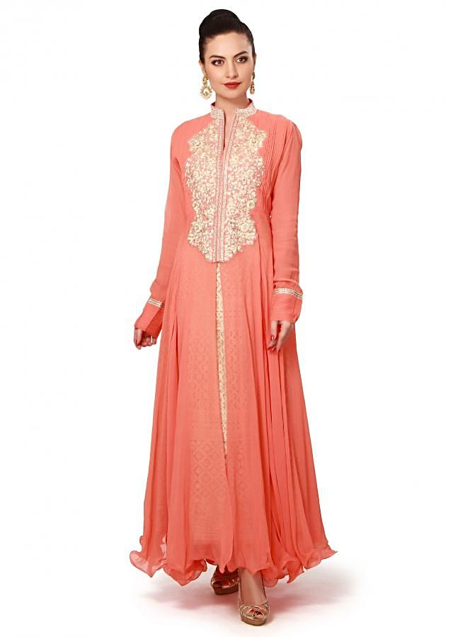 Peach anarkali suit adorn in resham and kundan embroidery only on Kalki