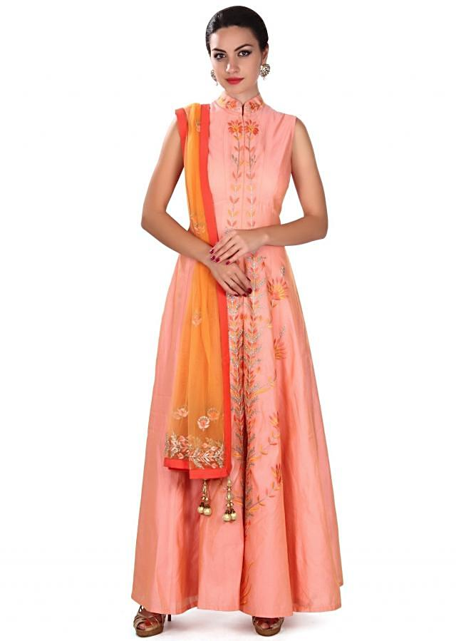 Peach anarkali suit adorn in resham embroidery only on Kalki