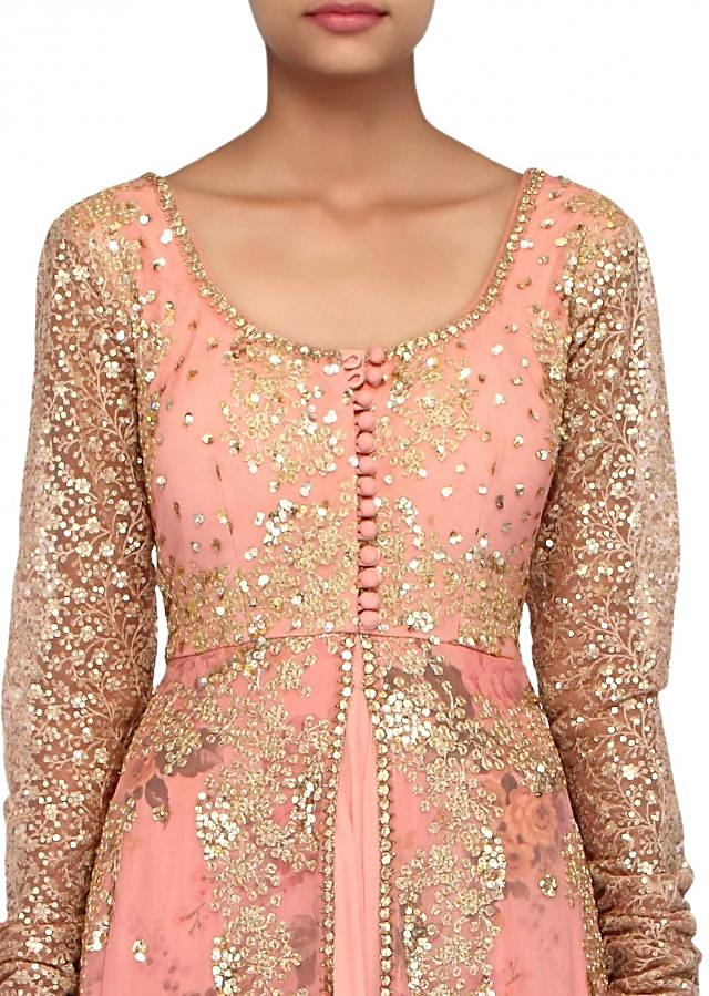 Peach anarkali suit adorn in sequin and zari only on Kalki
