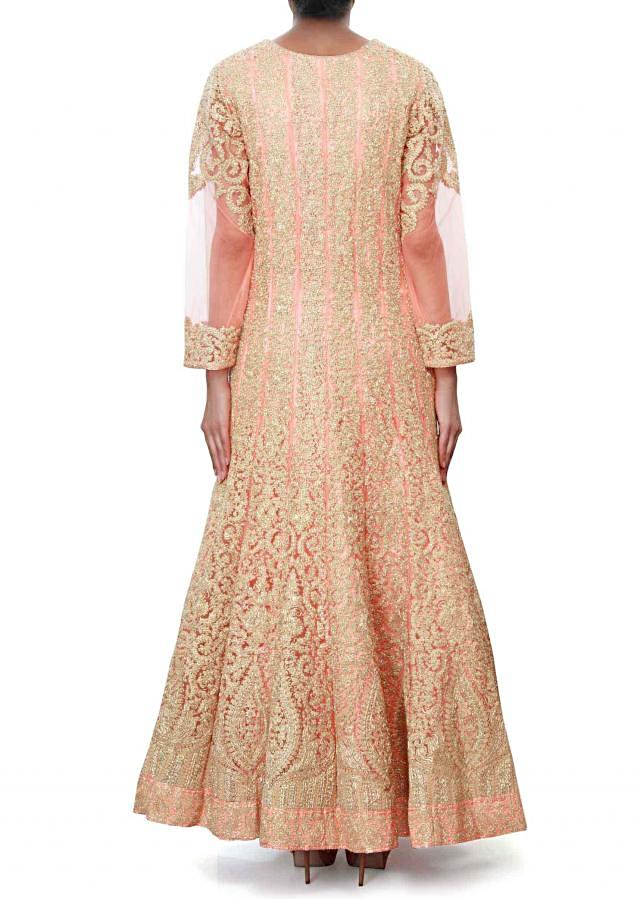 Peach anarkali suit adorn in thread embroidery only on Kalki