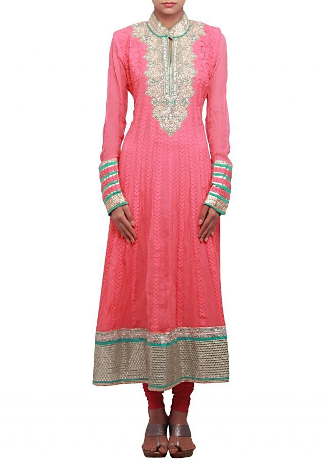 Peach anarkali suit embellished in pearl and zardosi only on Kalki