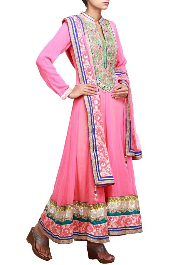 Peach anarkali suit embellished in resham and zardosi only on Kalki