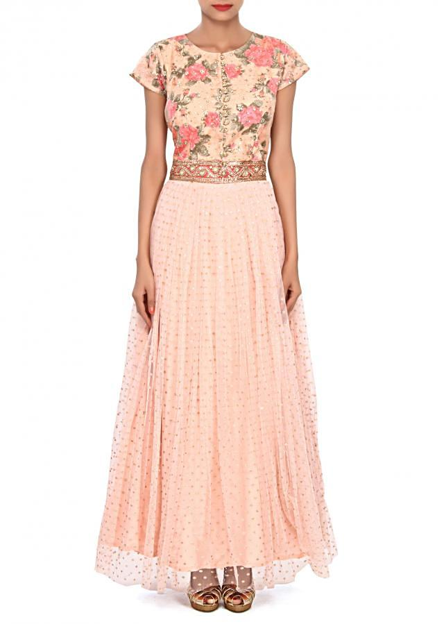 Peach anarkali suit embellished in sequin embroidery only on Kalki