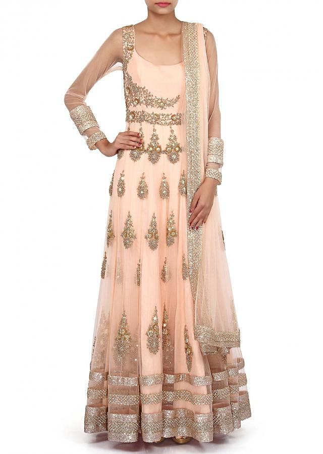 Peach anarkali suit embellished in zardosi embroidered butti only on Kalki
